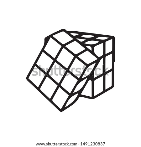 Rubik cube icon vector. Cube symbol. Linear style sign for mobile concept and web design. Rubik cube symbol illustration. Pixel vector graphics - Vector.
