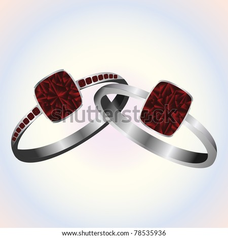 Ruby platinum and white gold rings