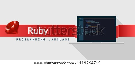 Ruby programming language with script code on laptop screen, programming language code illustration