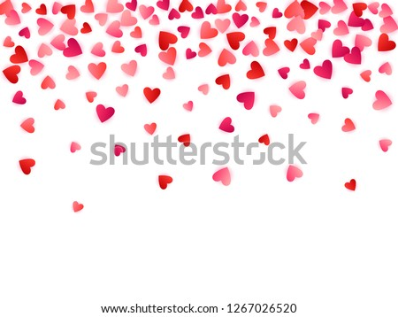 Ruby red flying hearts bright love passion frame border vector background. Cartoon confetti love signs pattern. Sweetly flying red hearts scatter for Valentines Day card.