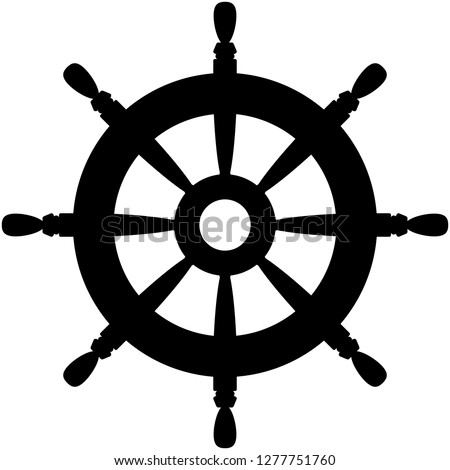 Rudder icon. Black silhouette vector illustration. Sailing symbol. Flat design style for website, app, infographics,..