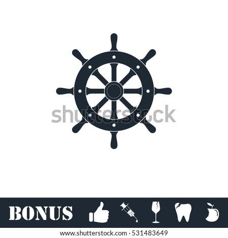 Rudder icon flat. Vector illustration symbol and bonus pictogram
