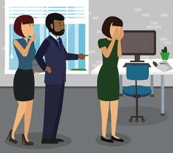Rude boss threatening and yelling, pointing finger at his employee. Give notice, to fire, be dismissed, get sacked, bossing, mobbing and bullying on workplace concepts illustration vector.