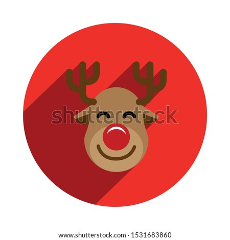 Rudolph Reindeer Icon in a Red Circle with Long Shadow