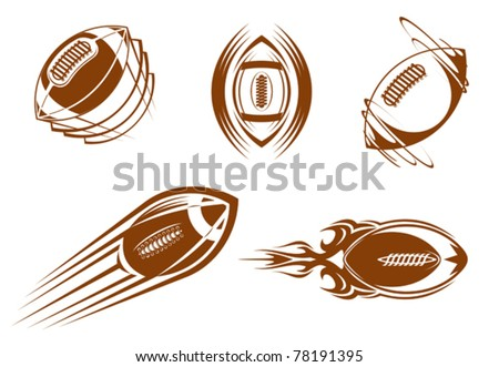 Rugby and american football symbols for mascots or sports design, such a logo. Jpeg version also available in gallery