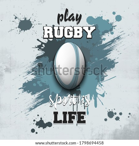 Rugby ball icon. Play rugby. Sport is life. Pattern for design poster, logo, emblem, label, banner, icon. Rugby template on isolated background. Grunge style. Vector illustration