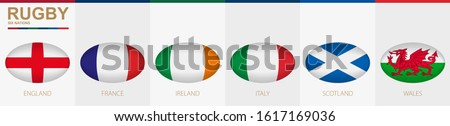 Rugby ball icon with flag of England, France, Ireland, Italy, Scotland and Wales. Vector rugby ball.