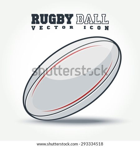 rugby ball icon with shadow on