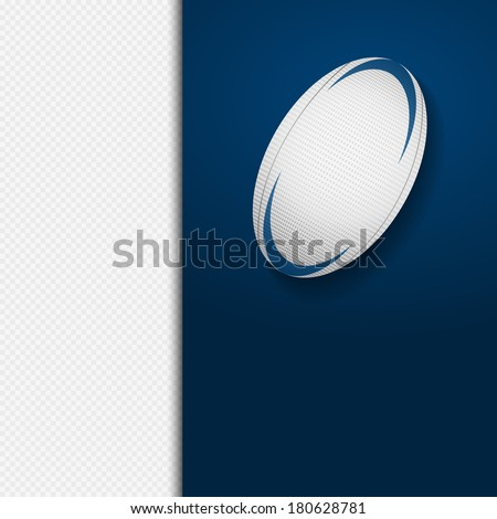rugby ball on a blue panel over