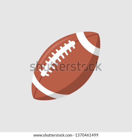 Rugby ball vector icon. Football american league logo isolated oval cartoon ball flat design.