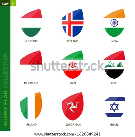 Rugby flag collection. Rugby icon with flag of 9 countries: Hungary, Iceland, India, Indonesia, Iran, Iraq, Ireland, Isle of Man, Israel Foto stock ©