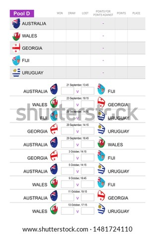 Rugby match schedule for pool D, all matches for Australia, Wales, Georgia, Fiji, Uruguay. Vector Illustration.
