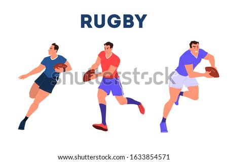 Rugby player running with a ball. Rugby player training. Athlete on the stadium. Championship tournament, team sport concept. Isolated vector illustration in cartoon style