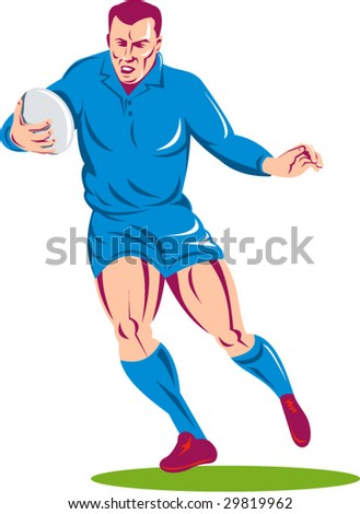 Rugby player running with the ball - stock vector