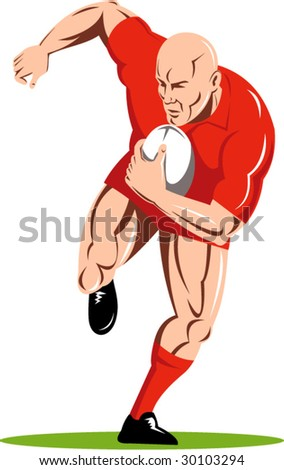 Rugby player running with the ball