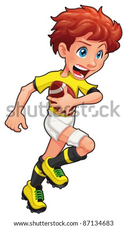 Rugby player. Vector cartoon and isolated sport character.