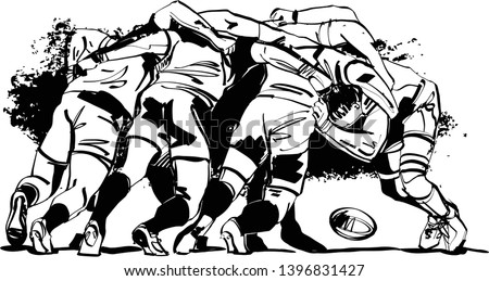 rugby players fighting for rugby ball