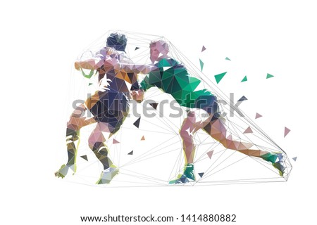 Rugby players, isolated low polygonal vector illustration. Two rugby players