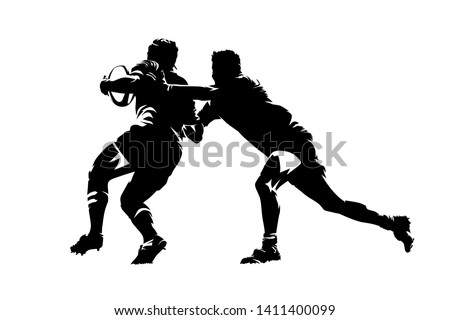Rugby players, isolated vector silhouette