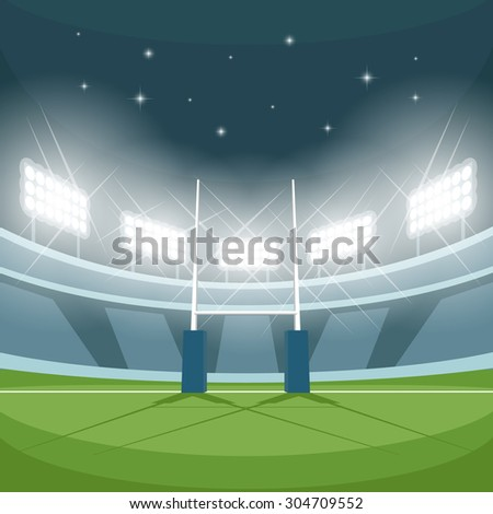 rugby stadium with lights at