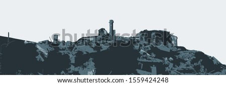 Ruined building. A pile of concrete, rubble and reinforcement debris. isolated. Stockfoto ©