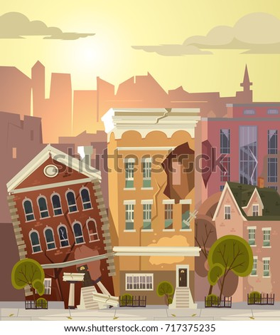 ruined city vector flat