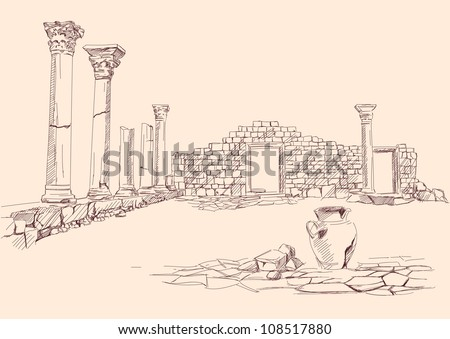 Ruins of temple , Greece - archaeology hand drawn vector llustration