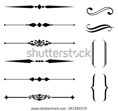 Shutterstock Rule Line and Ornament Set - Set of rule line and ornament design elements.  Each element is grouped separately for easy editing