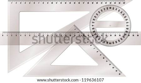 ruler and protractor - stock vector
