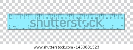 Ruler centimeter cm  and inches scale. Vector with centimeters and inches measurement