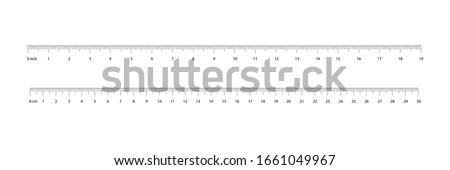 Ruler 30 centimeter. Value of division 1 mm. Ruler 12 inshes. Precise length measurement device. Vector illustration EPS 10. Foto stock ©