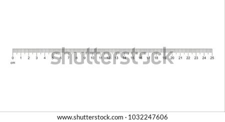 Ruler 25 cm. Measuring tool. Ruler Graduation. Ruler grid 25 cm. Size indicator units. Metric Centimeter size indicators. Vector EPS10