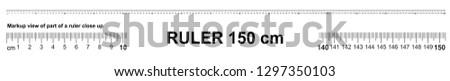 Ruler 150 cm. Precise measuring tool. Ruler scale 1,5 meter. Ruler grid 1500 mm. Metric centimeter size indicators