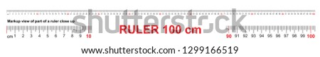 Ruler 100 cm. Precise measuring tool. Ruler scale 1 meter. Ruler grid 1000 mm. Metric centimeter size indicators