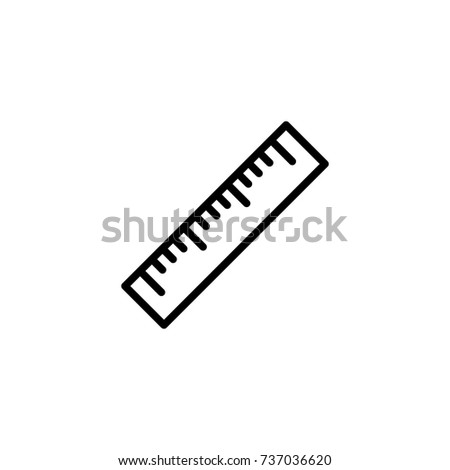 Ruler flat icon. Single high quality outline symbol of graduation for web design or mobile app. Thin line signs of education for design logo, visit card, etc. Outline logo of school
