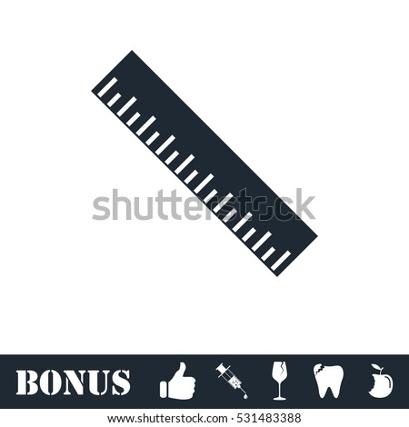 Ruler icon flat. Vector illustration symbol and bonus pictogram