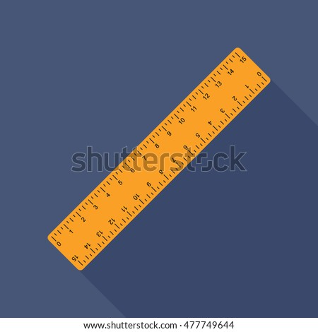 ruler icon or button in flat style with long shadow, isolated vector illustration on blue transparent background