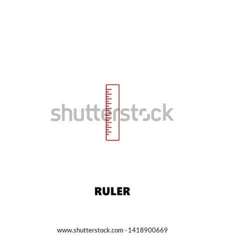 ruler icon. ruler vector design. sign design. red color
