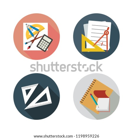 ruler icon set. vector set about set square and school material icons set.