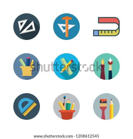 ruler icon set. vector set about set square, pencil case, school material and protractor icons set.