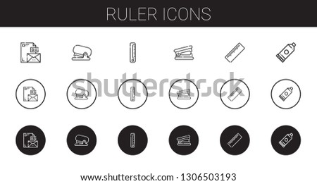ruler icons set. Collection of ruler with stationary, stapler, stapler remover, glue. Editable and scalable ruler icons.