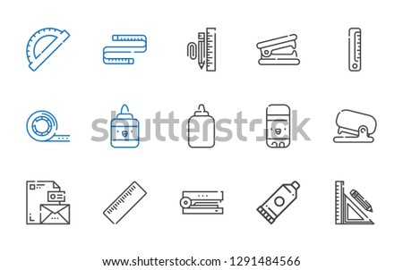ruler icons set. Collection of ruler with stationery, glue, stapler, stationary, glue stick, tape, stapler remover, measuring tape, protractor. Editable and scalable ruler icons.