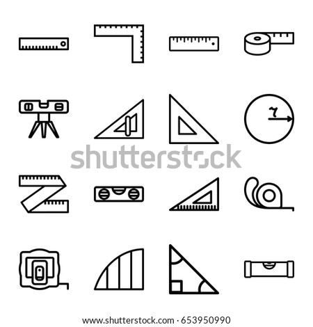 Ruler icons set. set of 16 ruler outline icons such as measure tape, angle, triangle, circle