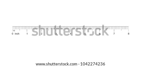 Ruler 8 inch. Measuring tool. Ruler Graduation. Ruler grid 8 inch. Size indicator units. Metric inch size indicators. 8-inch grid with a division of 1/10 Vector EPS10