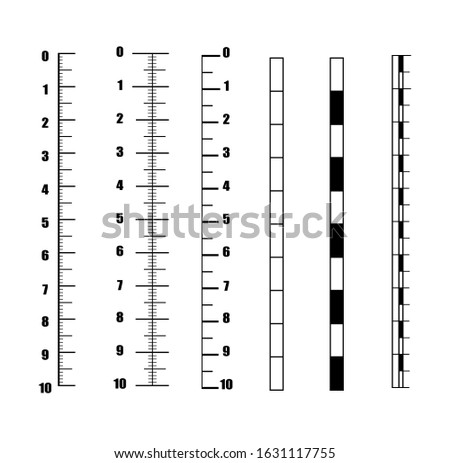 Ruler Inch Vector. Set vertical scale for an analog meter, vector template scales in units of millimeter, centimeter mm cm pattern of vertical scales for creating a ruler, thermometer, meter.