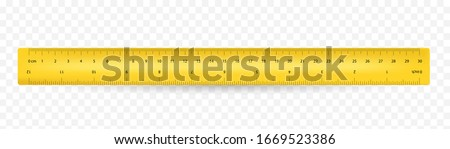 Ruler inches and 30 cm scale on both sides. Vector school, plastic yellow isolated rulers with double side measuring inches and centimeters Foto stock ©