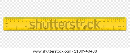 Ruler inches and cm scale on both sides. Vector school, plastic yellow isolated rulers with inch and centimeters double side measurement