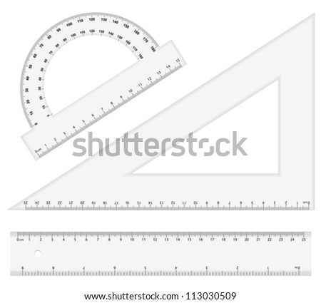 Ruler instruments on a white background. Vector illustration.