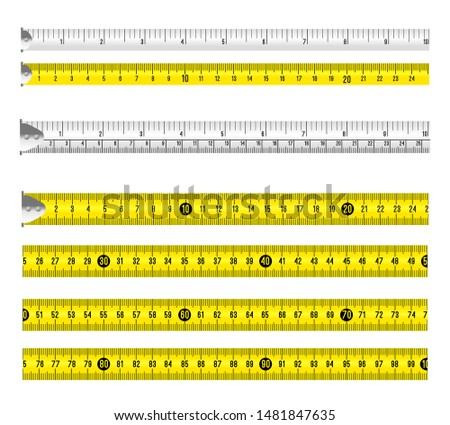 Ruler measuring tapes. Vector long tape set for measure, inches and metric meters, measurable yellow and white objects isolated on white background