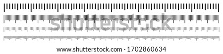 Rulers Inch and metric rulers. Measuring tool. Centimeters and inches measuring scale cm metrics indicator. Measurement scale, markup for a ruler. Vector set isolated